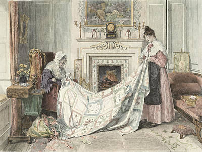 Patchwork Quilts Painting - Nearly Done, Published 1898 by Walter Dendy Sadler