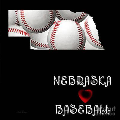 Baseball Digital Art - Nebraska Loves Baseball by Andee Design