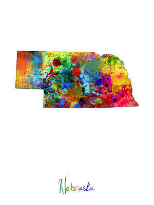 Geography Digital Art - Nebraska Map by Michael Tompsett