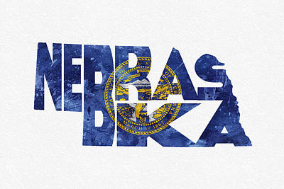 Nebraska Typographic Map Flag Print by Ayse Deniz