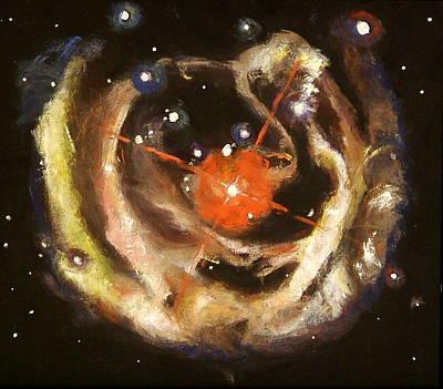 Planetary System Painting - Nebula by Sheila Diemert