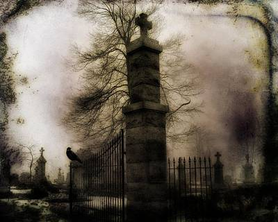 Necropolis Gate And Crow Print by Gothicolors Donna