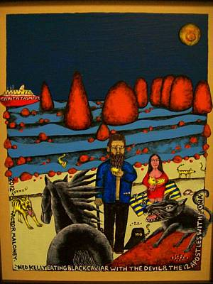 Ned Kelly Eating Black Caviar Original by Victor Maloney