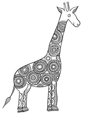 Giraffe Drawing - Neeti Animal Giraffe by Neeti Goswami