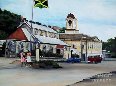 Jamaican Art Painting - Negril City Hall  by Kenneth Harris