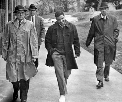 Negro Escorted To College Print by Underwood Archives