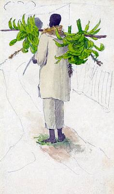Jamaican Digital Art - Negro Man Carrying Plantains On Pole by William Berryman