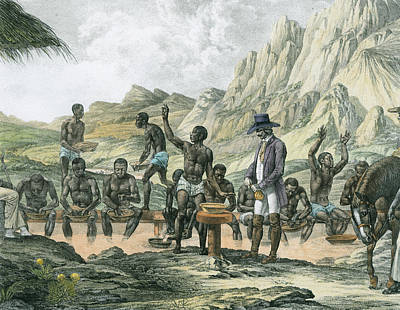 Prospecting Painting - Negro Slaves Washing Diamonds by Austrian School