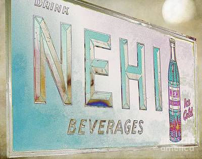 Nehi Ice Cold Beverages Sign Print by Liane Wright