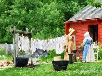 Neighbors Gossiping On Washday Print by Susan Savad