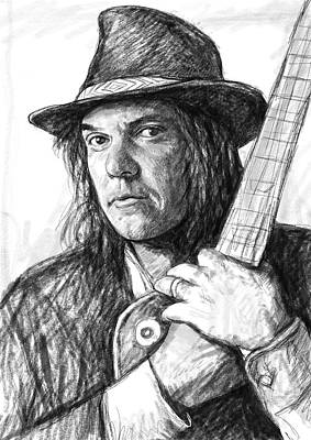 Guitar Drawing - Neil Young Art Drawing Sketch Portrait by Kim Wang