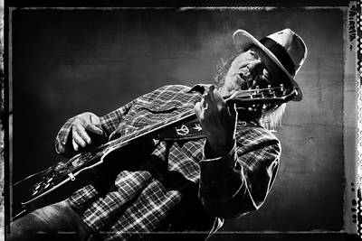 Neil Young On Guitar In Black And White With Grungy Frame  Print by Jennifer Rondinelli Reilly