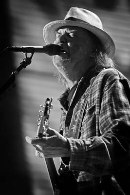 Neil Young On Guitar At Farm Aid 2010 Print by The  Vault - Jennifer Rondinelli Reilly