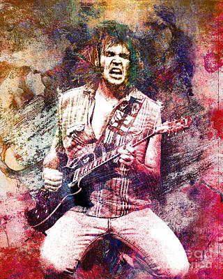 Neil Young Original Painting Print Print by Ryan Rock Artist