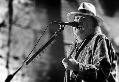 Neil Young Photograph - Neil Young Performing At Farm Aid In Black And White by Jennifer Rondinelli Reilly - Fine Art Photography