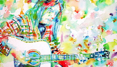 Neil Young Playing The Guitar - Watercolor Portrait.1 Print by Fabrizio Cassetta