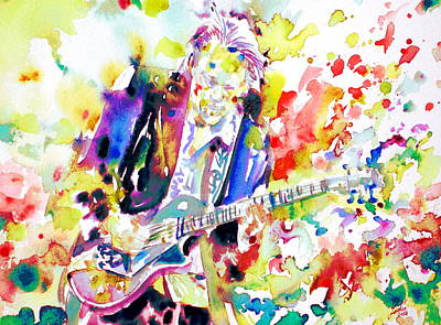 Neil Young Playing The Guitar - Watercolor Portrait.2 Print by Fabrizio Cassetta