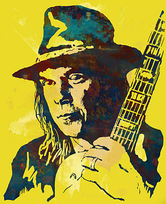 Neil Young Photograph - Neil Young Pop Artsketch Portrait Poster by Kim Wang