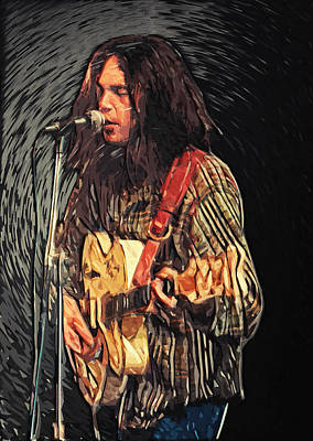 Pearl Jam Digital Art - Neil Young by Taylan Soyturk