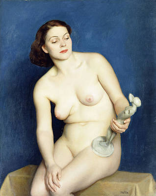 Statue Portrait Painting - Nellie And Phryne by William McGregor Paxton