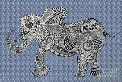 Nelly The Elephant Blue Bubbles Print by Karen Larter
