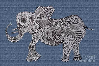 Nelly The Elephant Denim Print by Karen Larter