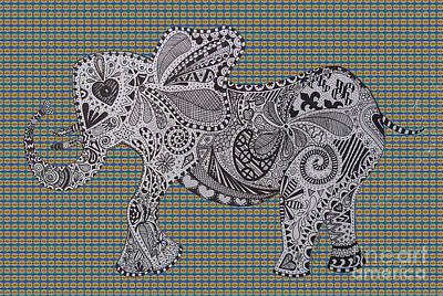 Nelly The Elephant Tartan Print by Karen Larter