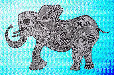 Nelly The Elephant Turquoise Print by Karen Larter