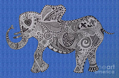 Nelly The Elphant Bright Blue Print by Karen Larter