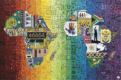 Mosaic Mixed Media - Nelson Mandela by Genna Wise