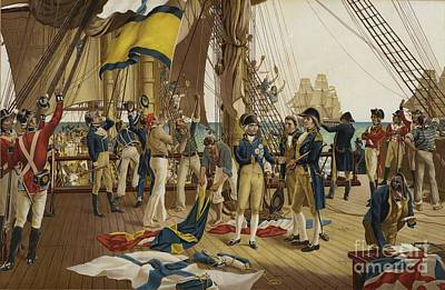 Nelsons Last Signal At Trafalgar Print by English School