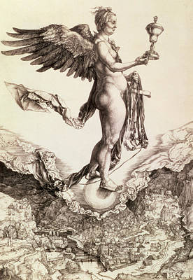 Greek Drawing - Nemesis by Albrecht Durer
