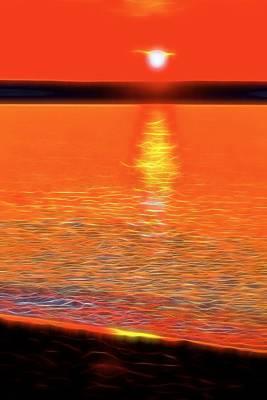 Heat Mixed Media - Neon Beach Sunset by Dan Sproul