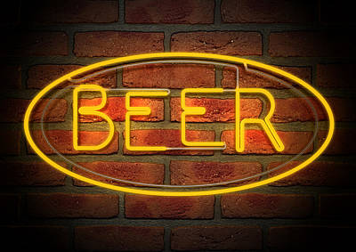 Neon Beer Sign On A Face Brick Wall Print by Allan Swart