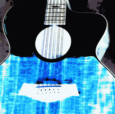 Neon Blue Guitar Original by Laurie Pike