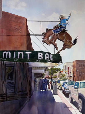Bucking Bronco Painting - Neon Cowboy by Kris Parins