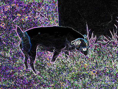 Puppy Mixed Media - Neon Dog by Minding My  Visions by Adri and Ray