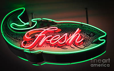 Neon Fish Print by Inge Johnsson