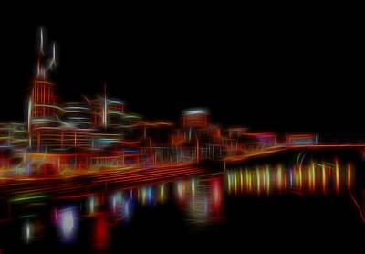 Nashville Skyline Mixed Media - Neon Nashville Skyline At Night by Dan Sproul