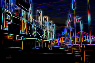 Roberto Clemente Digital Art - Neon Nights At Pnc Park 2 by Stephen Falavolito