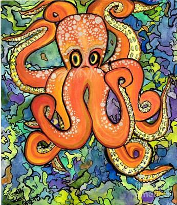 Neon Octopus Print by Teresa Hay