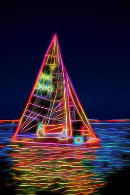 Neon Sailboat Print by David Smith