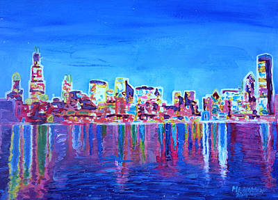 Chicago Painting - Neon Shimmering Skyline Of Chicago Skyline At Night by M Bleichner
