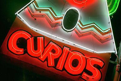 Curios Photograph - Neon Shop Sign, Tucumcari, New Mexico by Julien Mcroberts