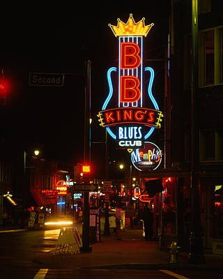 Neon Sign Lit Up At Night, B. B. Kings Print by Panoramic Images