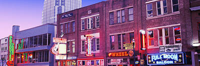 Tennessee Photograph - Neon Signs On Buildings, Nashville by Panoramic Images