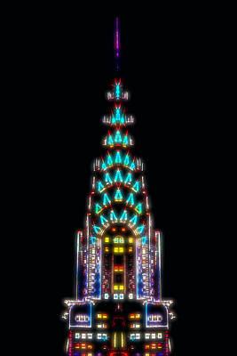 Chrysler Building Digital Art - Neon Spires by Az Jackson