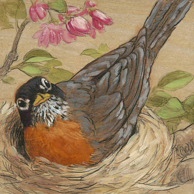 Robin Mixed Media - Nesting Robin by Tracie Thompson
