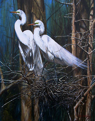 Alabama Painting - Nesting Snowy Egrets by Rob Dreyer AFC