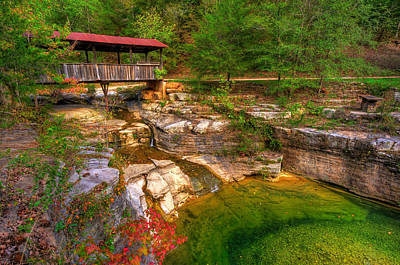 Bridge Over Little Red River Photograph - Covered Bridge In Spring - Ponca Arkansas by Gregory Ballos